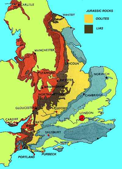 Map Of England Showing Yorkshire.Geology